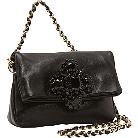 Luxe Rocks Leather Scarlett Shoulder/Clutch Black