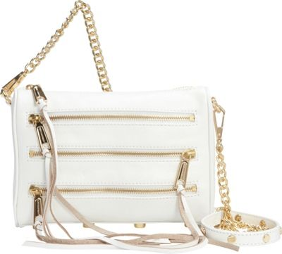 Rebecca Minkoff Mini 5 Zip Convertible Crossbody White - Rebecca Minkoff Designer Handbags
