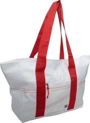 SailorBags Sailcloth Large Tote White with Red Straps - SailorBags Fabric Handbags