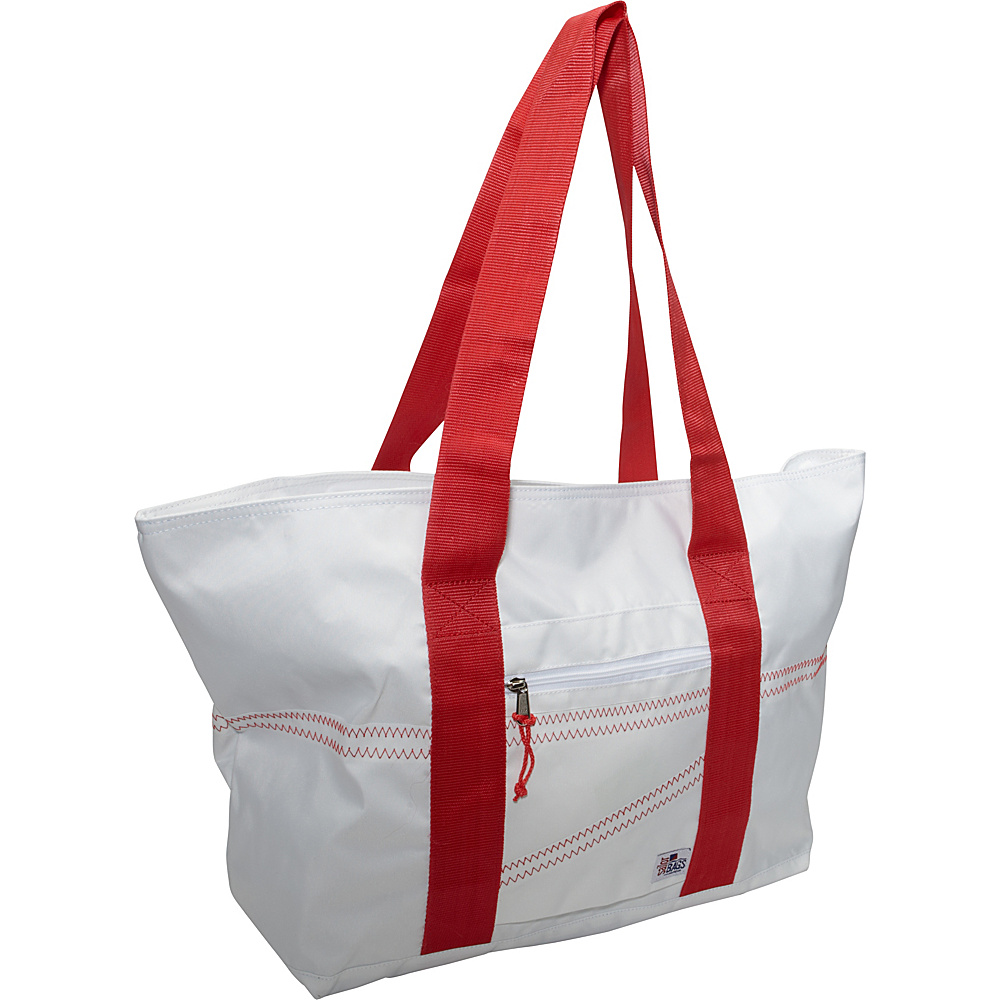 SailorBags Sailcloth Large Tote White with Red Straps SailorBags Fabric Handbags