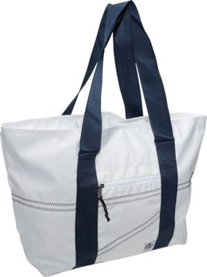 SailorBags Sailcloth Large Tote White with Blue Straps - SailorBags Fabric Handbags