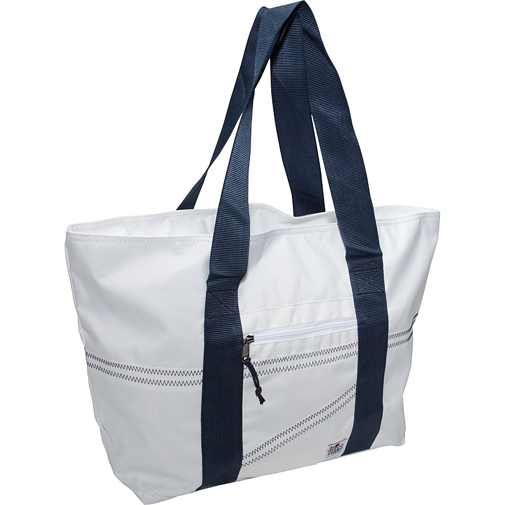 SailorBags Sailcloth Large Tote White with Blue Straps SailorBags Fabric Handbags