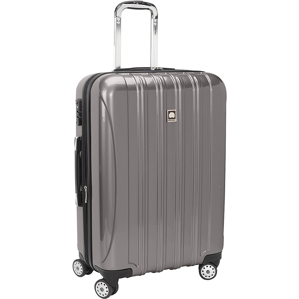 """Delsey Helium Aero 26"""" Exp. Spinner Trolley Titanium - Delsey Hardside Checked"""