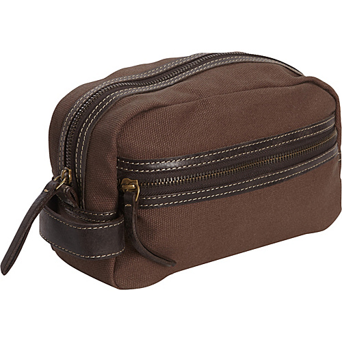 Timberland Wallets Waxed Canvas w/ Leather Trim Travel Kit Brown - Timberland Wallets Toiletry Kits