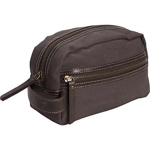 Timberland Wallets Waxed Canvas w/ Leather Trim Travel Kit Charcoal - Timberland Wallets Toiletry Kits