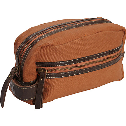 Timberland Wallets Waxed Canvas w/ Leather Trim Travel Kit Burnt Orange - Timberland Wallets Toiletry Kits
