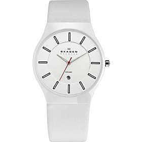 White Ceramic & Leather Watch White