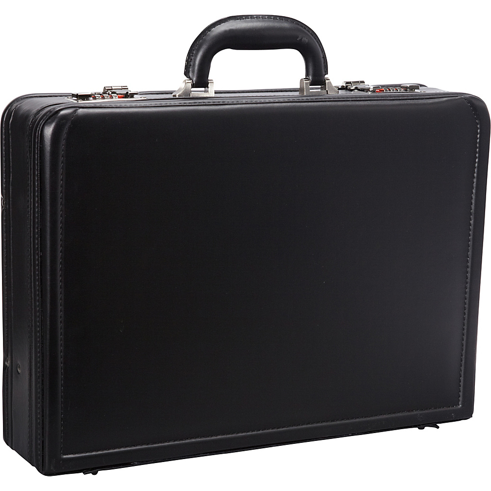 "Mancini Leather Goods Expandable 15.6"" Laptop Attach Case Black - Mancini Leather Goods Non-Wheeled Business Cases"