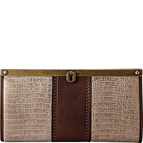Vintage Revival Embossed Frame Clutch Metallic