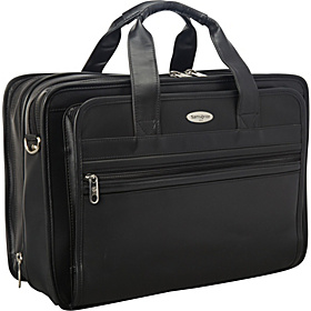 Expandable Leather Top-Zip Laptop Bag Black