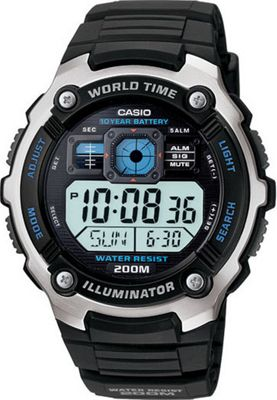 Casio Men's Silver-Tone and Black Multi-Functional Digital Sport Watch Black - Casio Watches