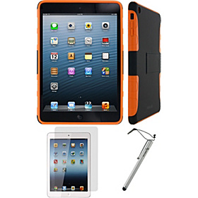 3n1 - Extreme Hybrid TPU Shell Case Bundle for iPad Mini - Assorted Colors Black/Orange