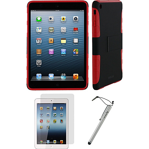 rooCASE 3n1 - Extreme Hybrid TPU Shell Case Bundle for iPad Mini - Assorted Colors Black/Red - rooCASE Laptop Sleeves