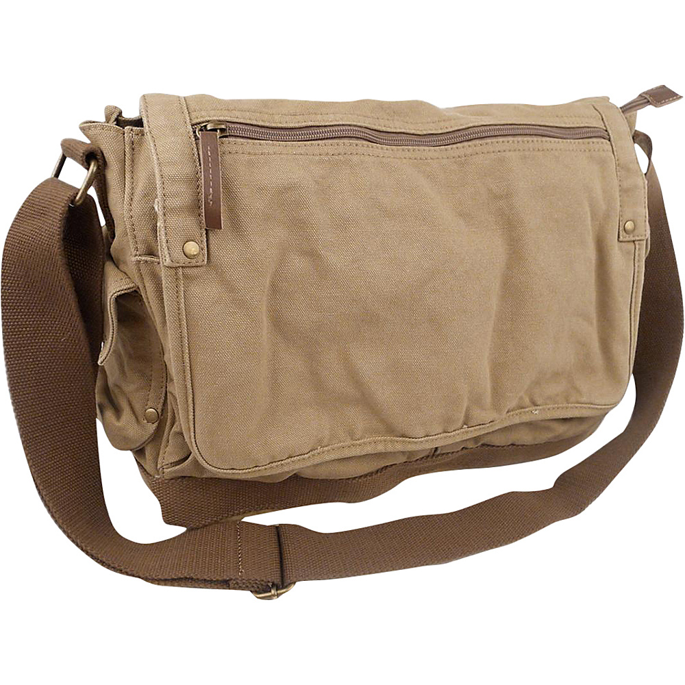 Vagabond Traveler Casual Style Canvas Messenger Bag Khaki - Vagabond Traveler Messenger Bags - Work Bags & Briefcases, Messenger Bags
