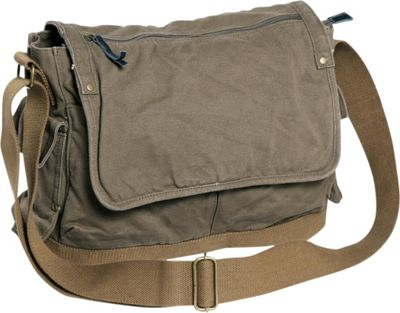 Vagabond Traveler Casual Style Canvas Messenger Bag Military Green - Vagabond Traveler Messenger Bags
