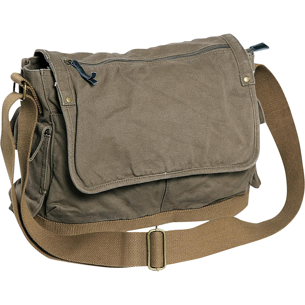 Vagabond Traveler Casual Style Canvas Messenger Bag Military Green Vagabond Traveler Messenger Bags