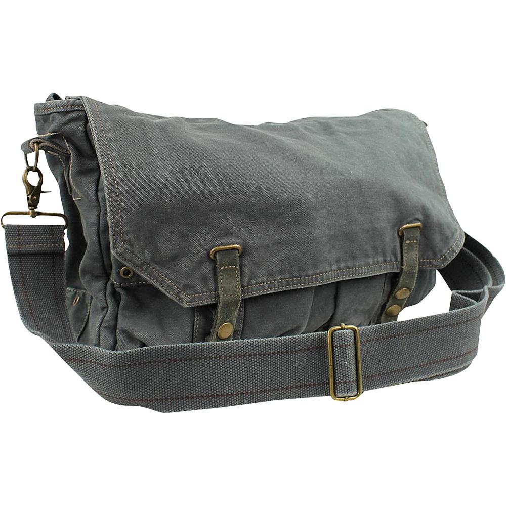 Vagabond Traveler Canvas Shoulder Bag Grey - Vagabond Traveler Messenger Bags - Work Bags & Briefcases, Messenger Bags