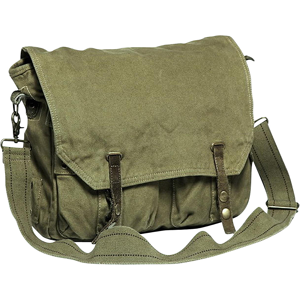 Vagabond Traveler Canvas Shoulder Bag Military Green - Vagabond Traveler Messenger Bags - Work Bags & Briefcases, Messenger Bags