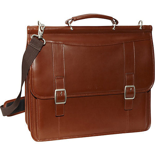 Samsonite Leather Flapover Business Case Tan - Samsonite Non-Wheeled Computer Cases