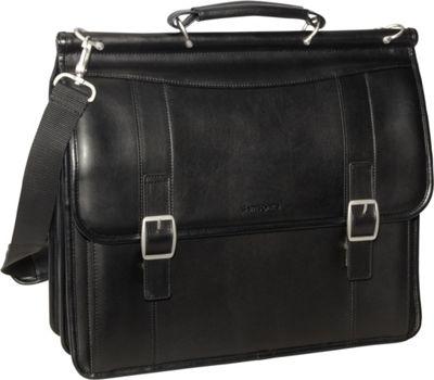 Samsonite Leather Flapover Business Case Black - Samsonite Non-Wheeled Business Cases