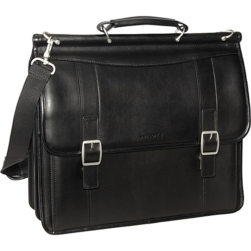 Samsonite Leather Flapover Business Case Black - Samsonite Non-Wheeled Computer Cases