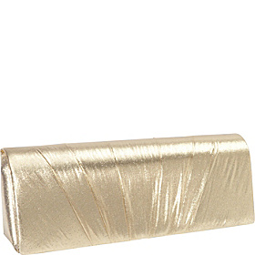 Pleated Lame Clutch Gold