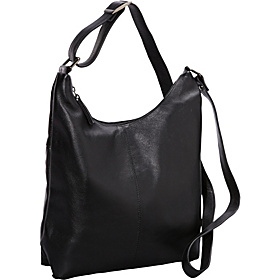 Medium Top Zip Leather Crossbody BLACK