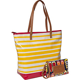 Can't Stop Shopper Large Tall Top Zip Tote Sunshine/Rosa