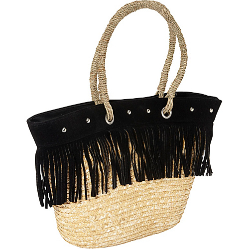 Magid Fringed Milan Straw Large Tote Natural/Black - Magid Straw Handbags