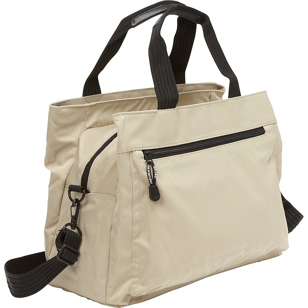 Derek Alexander Top Zip Tote with Multi-Compartment Tan - Derek Alexander Fabric Handbags
