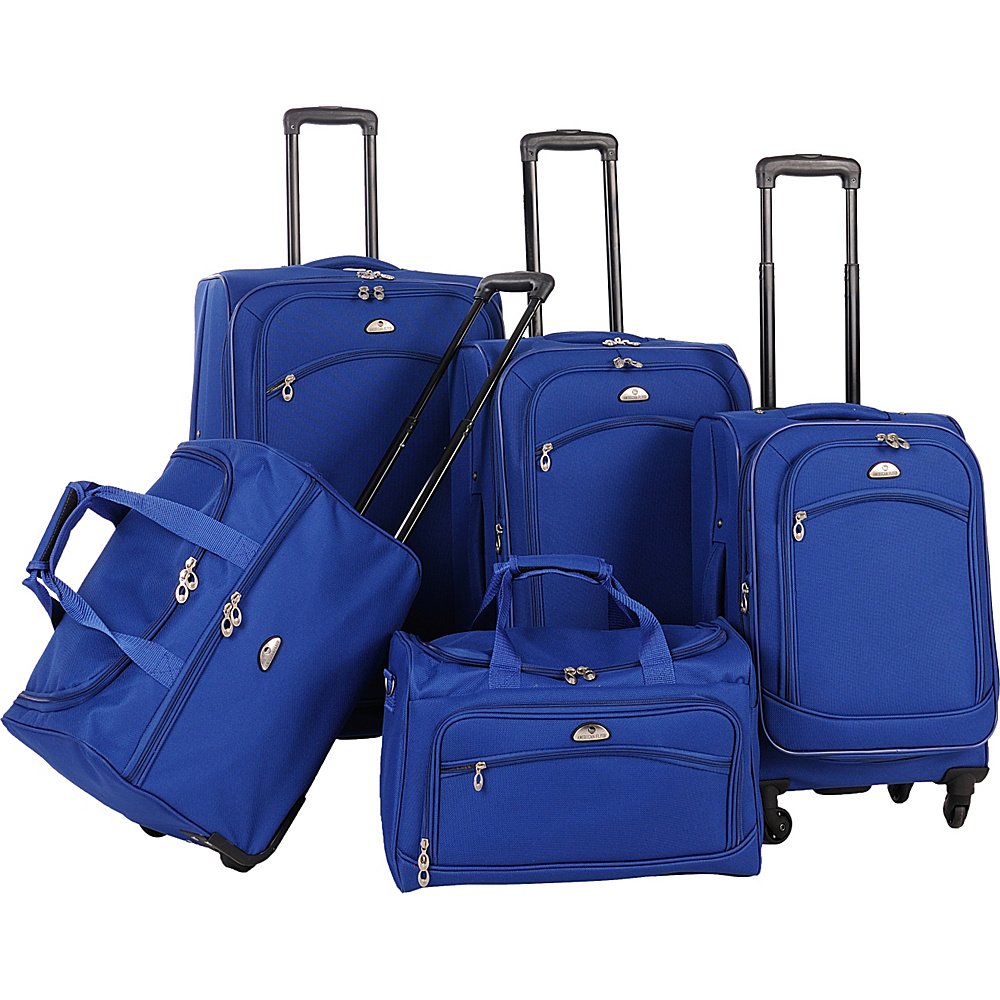 American Flyer South West Collection 5 Piece Luggage Set Cobalt Blue - American Flyer Luggage Sets