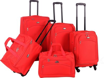 American Flyer South West Collection 5 Piece Luggage Set Red - American Flyer Luggage Sets