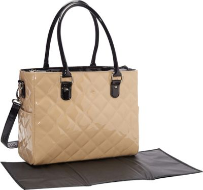 JP Lizzy Patent Classic Diaper Bag-Caramel