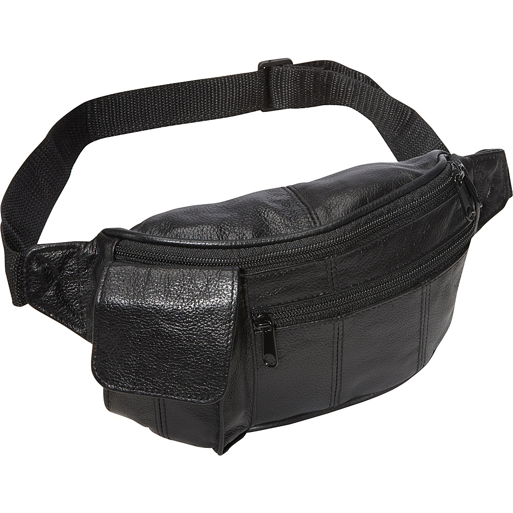 AmeriLeather Leather Waist Pouch w/ Cellphone Holder Black - AmeriLeather Waist Packs - Backpacks, Waist Packs