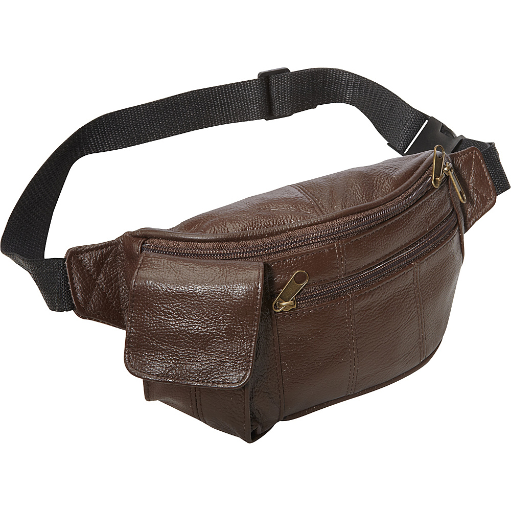 AmeriLeather Leather Waist Pouch w/ Cellphone Holder Waxy Brown - AmeriLeather Waist Packs - Backpacks, Waist Packs