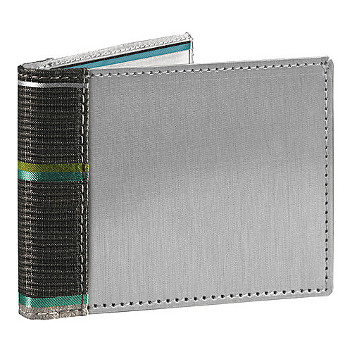 Stewart Stand Stripe Collection Bill Fold Stainless Steel Wallet- RFID Peacock Blue / Graphite - Stewart Stand Mens Wallets
