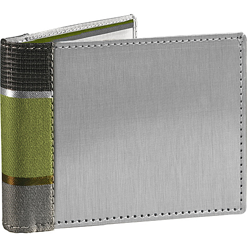 Stewart Stand Stripe Collection Bill Fold Stainless Steel Wallet- RFID Pistachio Green /  Graphite - Stewart Stand Mens Wallets