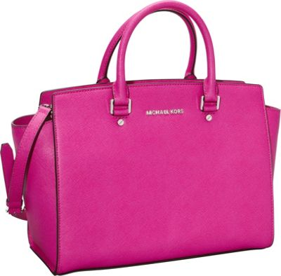MICHAEL Michael Kors Selma Large Top Zip Satchel Fuschia - MICHAEL Michael Kors Designer Handbags