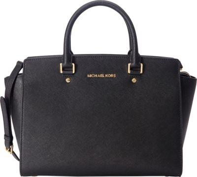 MICHAEL Michael Kors Selma Large Top Zip Satchel Black - MICHAEL Michael Kors Designer Handbags
