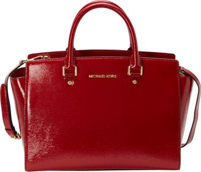 MICHAEL Michael Kors Selma Large Top Zip Satchel Red - MICHAEL Michael Kors Designer Handbags