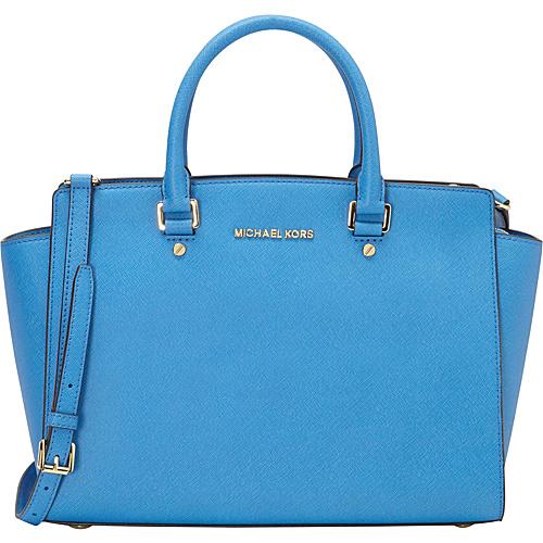 MICHAEL Michael Kors Selma Large Top Zip Satchel Heritage Blue - MICHAEL Michael Kors Designer Handbags