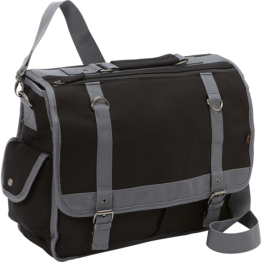 Bellino Expresso Canvas Laptop Messenger Black - Bellino Messenger Bags
