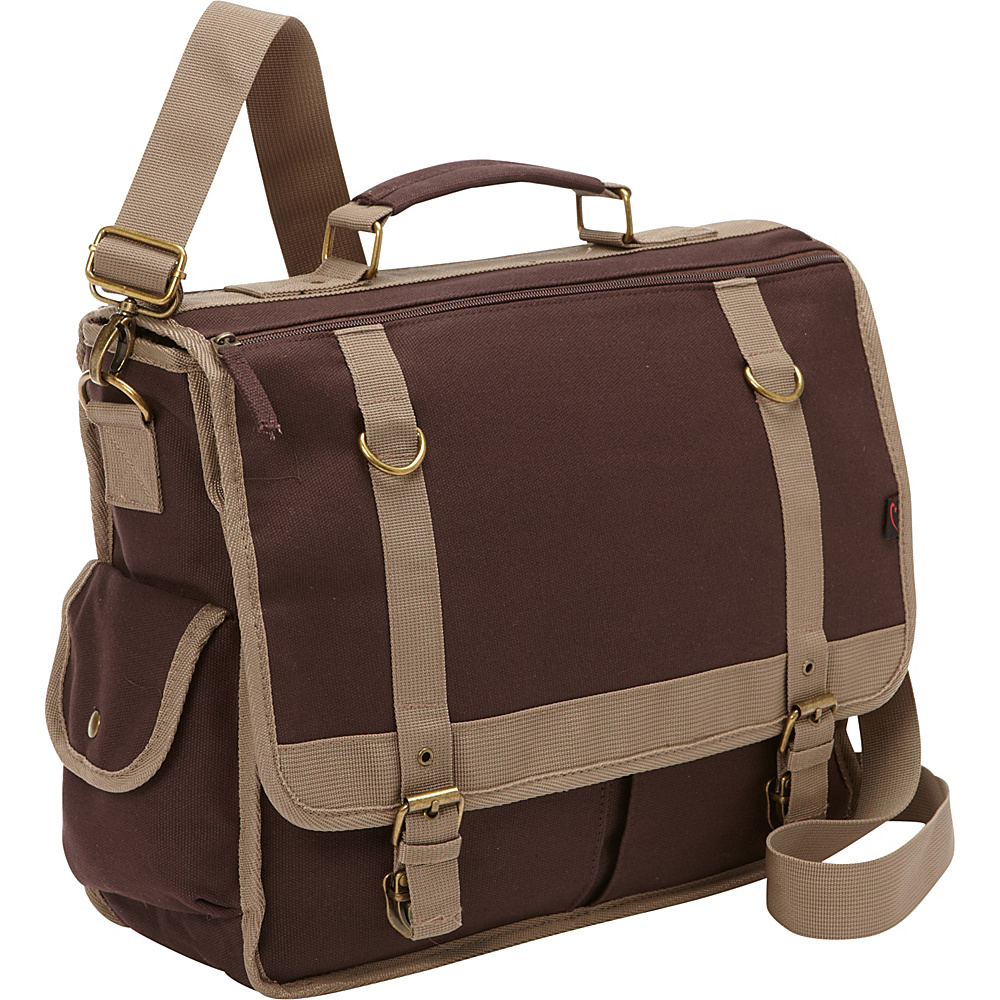 Bellino Expresso Canvas Laptop Messenger Brown - Bellino Messenger Bags