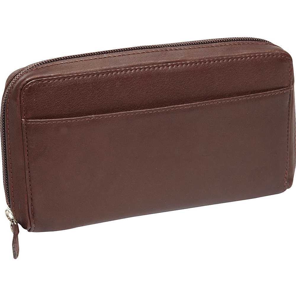 Derek Alexander Large Full Zip Organizer Clutch Wallet Brown - Derek Alexander Womens Wallets - Women's SLG, Women's Wallets