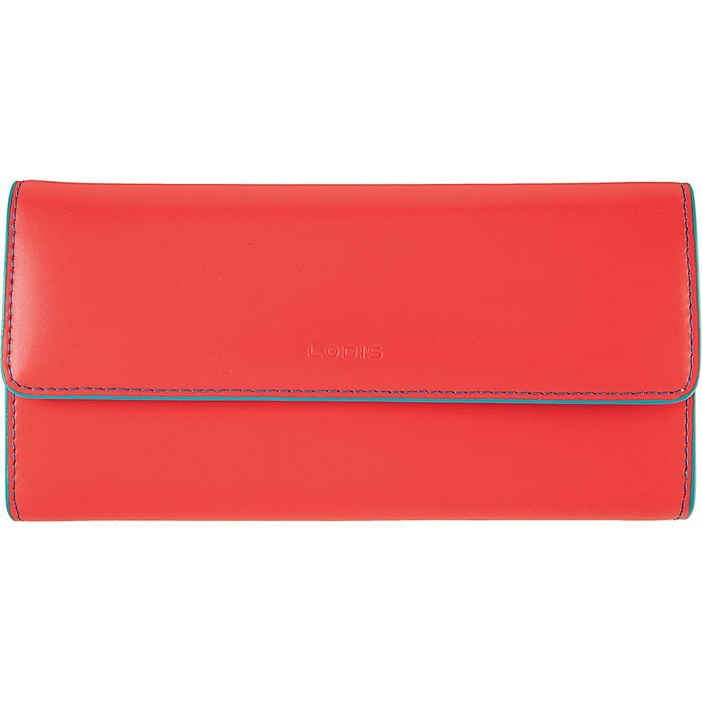 Lodis Audrey Checkbook Clutch Wallet - Fashion Colors Coral/Turquoise - Lodis Womens Wallets - Women's SLG, Women's Wallets