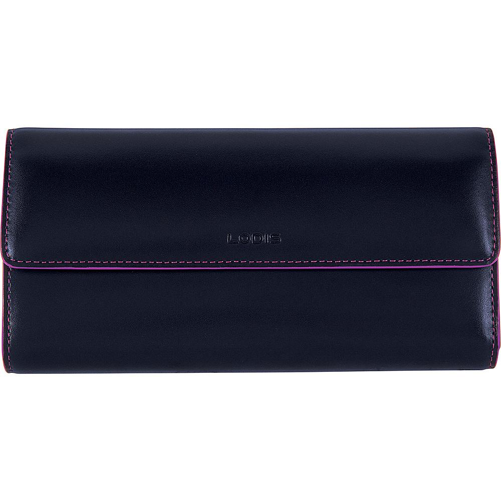 Lodis Audrey RFID Checkbook Clutch Wallet Navy/Orchid - Lodis Womens Wallets - Women's SLG, Women's Wallets