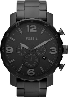 Fossil Nate Brushed Steel Watch Black - Fossil Watches