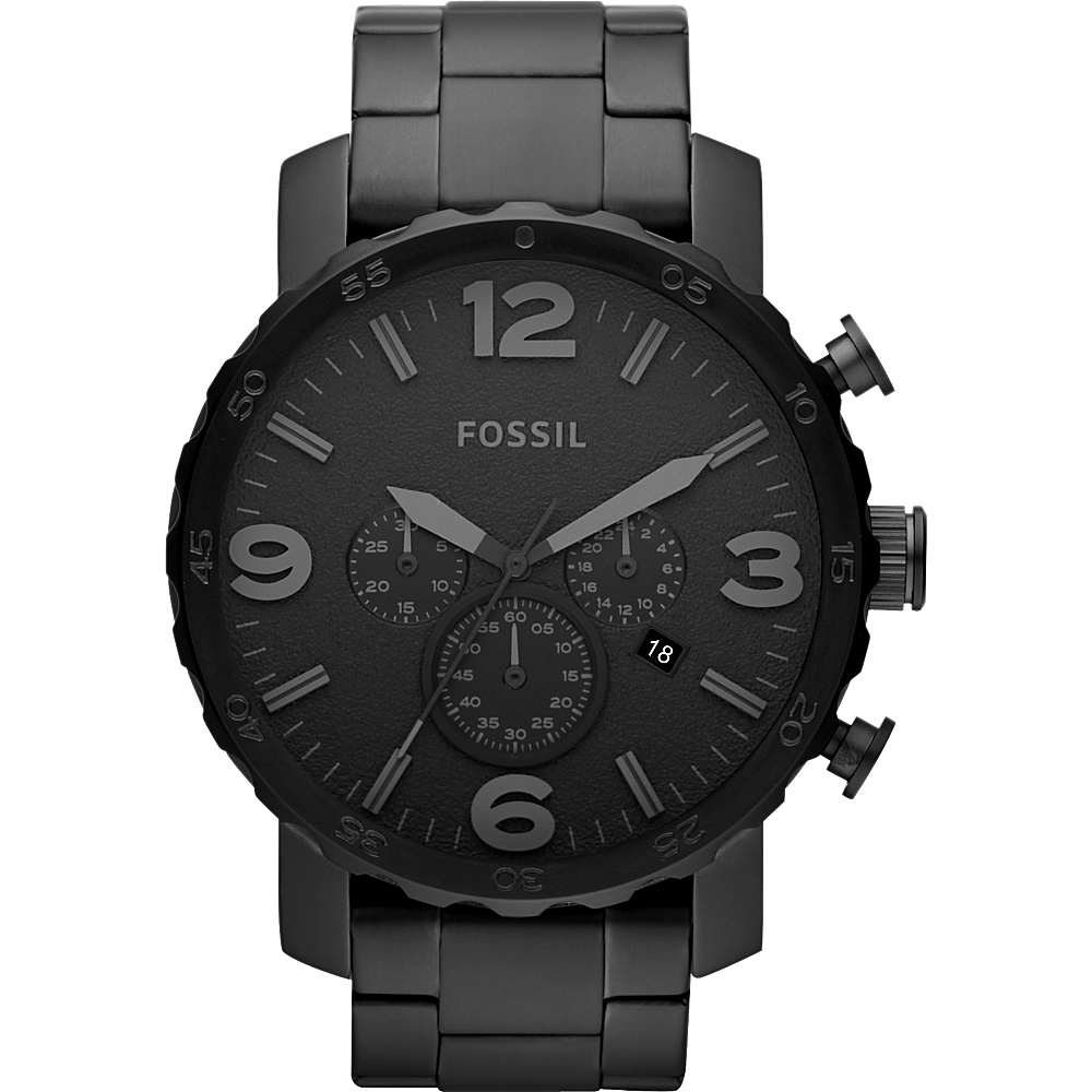 Fossil Nate Brushed Steel Watch Black Fossil Watches
