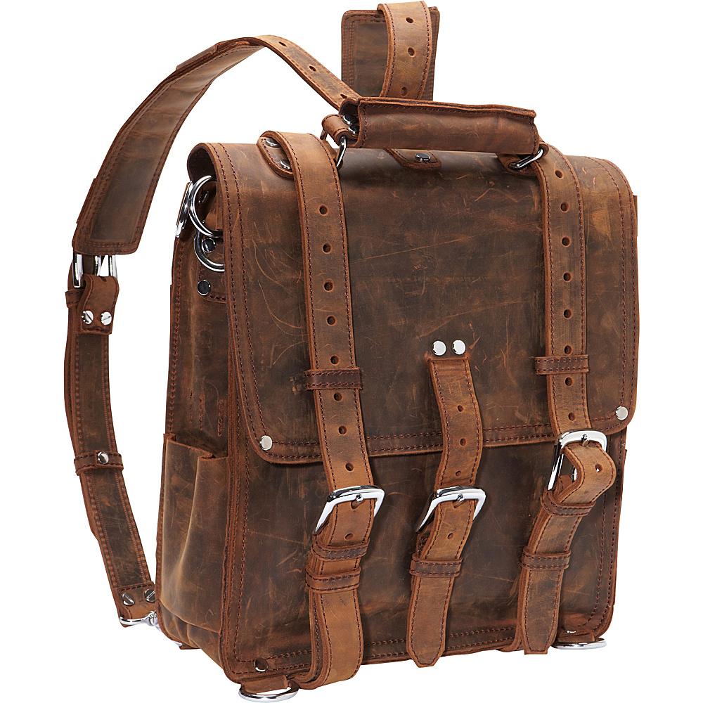 Vagabond Traveler Tall Leather Backpack Brief Vintage Brown - Vagabond Traveler Non-Wheeled Business Cases - Work Bags & Briefcases, Non-Wheeled Business Cases
