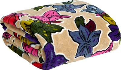 Vera Bradley Throw Blanket Falling Flowers Neutral - Vera Bradley Travel Pillows & Blankets